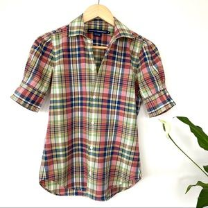 Ralph Lauren fitted plaid top